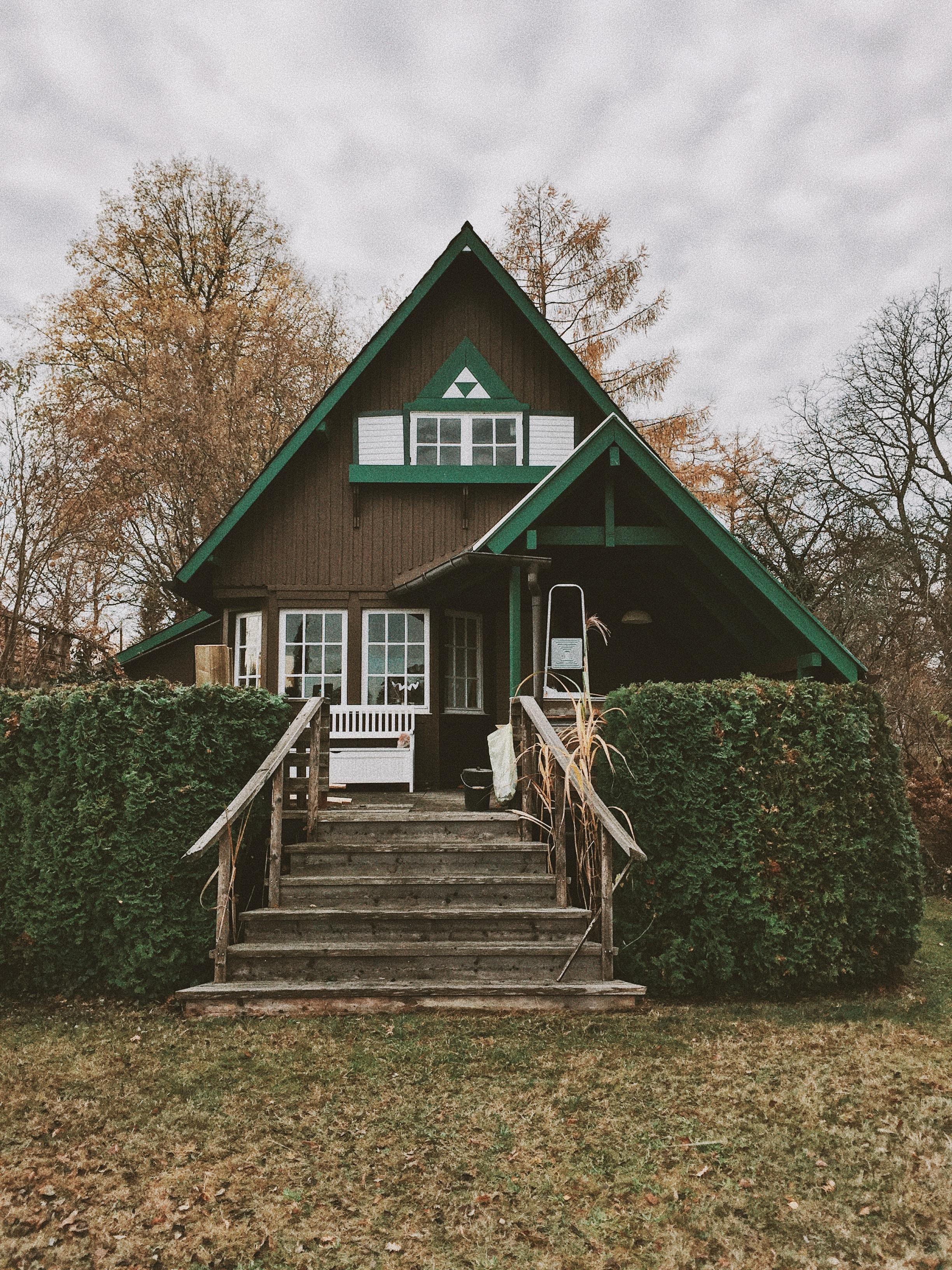 Maison bois et peinte en vert avec arbres autour